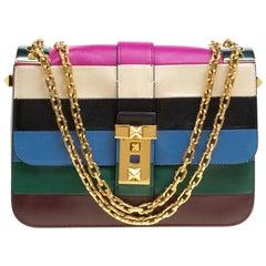 Valentino Multicolor Striped Leather B Rockstud Shoulder Bag