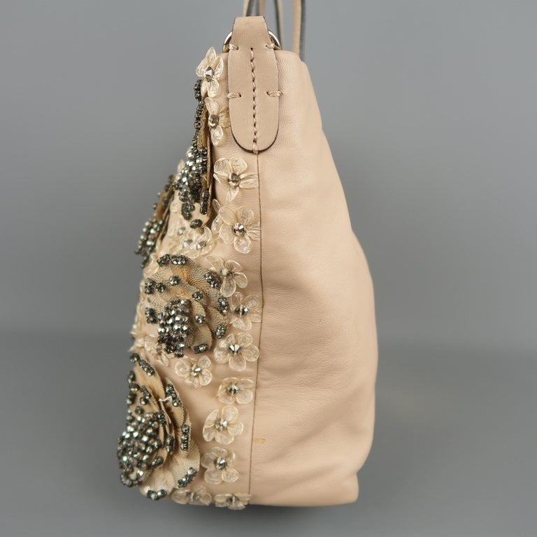 bc7043fe0 VALENTINO Muted Pink Leather Beaded Rhinestone Payette Flower Tote Bag For  Sale 5