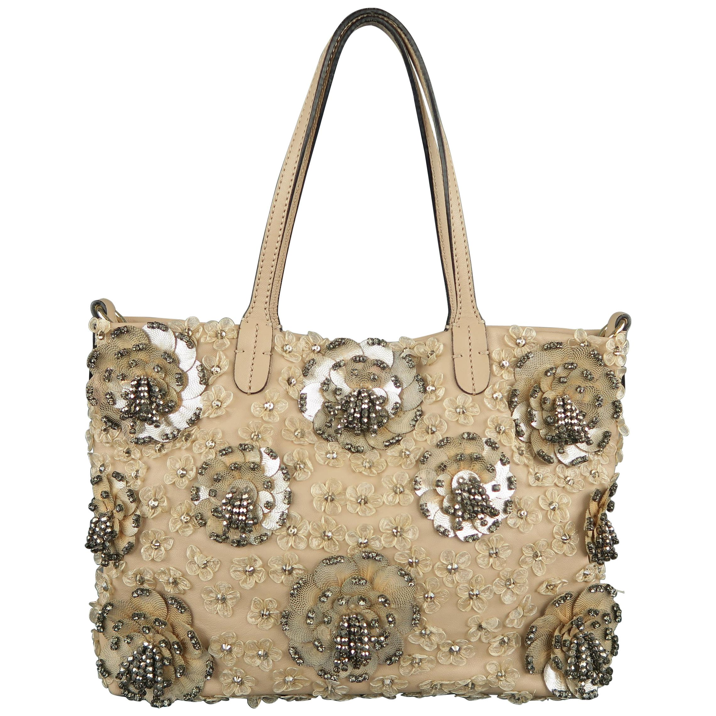 c9cabf325 VALENTINO Muted Pink Leather Beaded Rhinestone Payette Flower Tote Bag For  Sale at 1stdibs