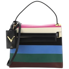Valentino My Rockstud Satchel Striped Leather Medium