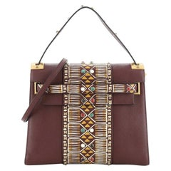 Valentino My Rockstud Satchel Tribal Embellished Leather Medium
