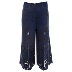 Valentino Navy Blue Cotton and Lace Embroidered Flared Denim Jeans S