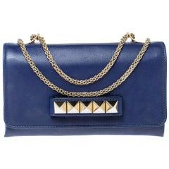 Valentino Navy Blue Leather Medium Va Va Voom Chain Shoulder Bag