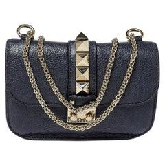 Valentino Navy Blue Leather Small Rockstud Glam Lock Flap Bag