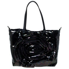 Valentino Navy Blue Sequin Small Petale Tote