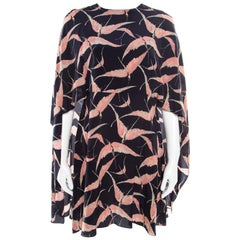 Valentino Navy Blue Swallow Print Silk Mini Capelet Dress M