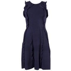 VALENTINO navy blue viscose RUFFLED KNIT Sleeveless Dress S