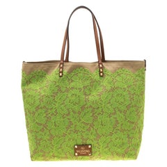 Valentino Neon Green/Brown Canvas Reversible Glamorous Lace Tote
