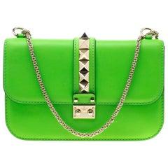 Valentino Neon Green Leather Rockstud Medium Glam Lock Flap Bag