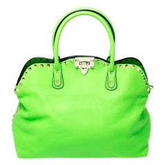 Valentino Neon Green Leather Rockstud Tote
