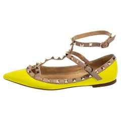 Valentino Neon Green Patent And Leather Rockstud Ankle Strap Ballet Flats Size 3