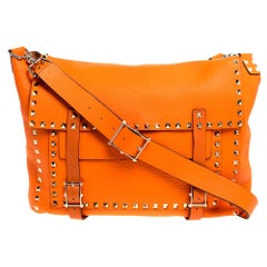 Valentino Neon Orange Leather Rockstud Messenger Bag