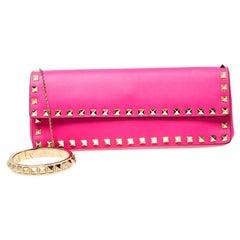Valentino Neon Pink Leather Rockstud Bracelet Clutch