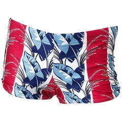 Valentino New 2000s Women's Red, White and Blue Boy Shorts Swimsuit Bottoms