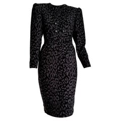 "VALENTINO ""New"" Black and Gray Leopard Print Cashmere Dress - Unworn"