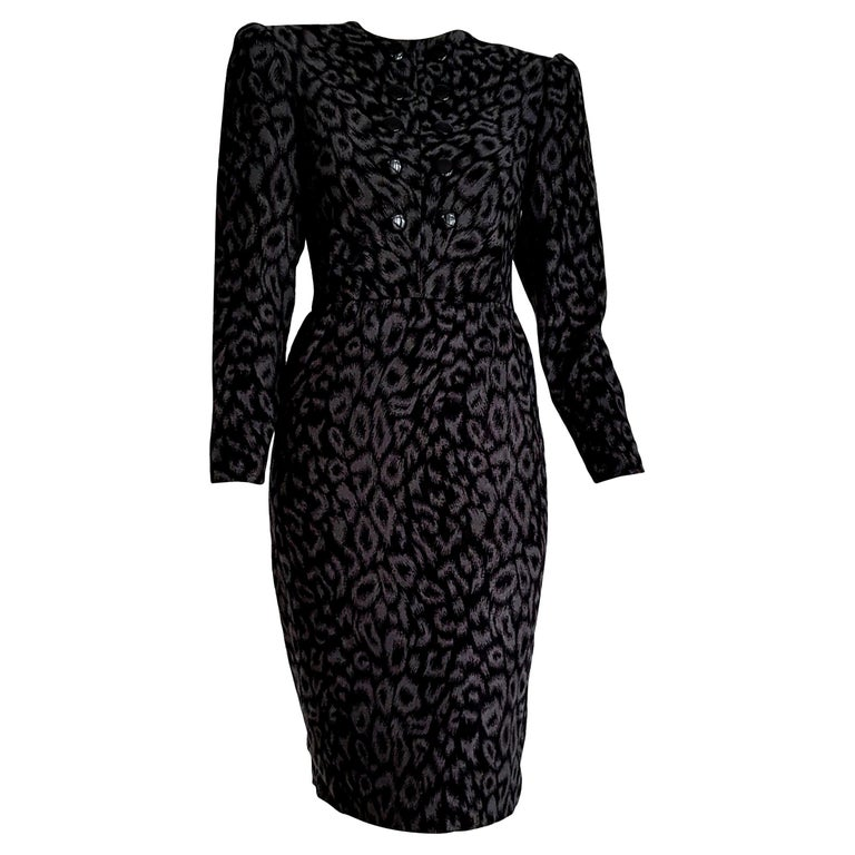 "VALENTINO ""New"" Black and Gray Leopard Print Cashmere Dress - Unworn For Sale"