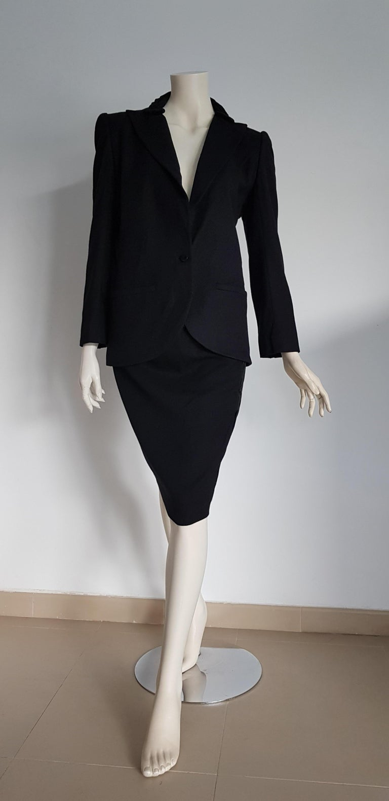 VALENTINO black cashmere embellished collar jacket velvet wool skirt suit - Unworn, New .. SIZE: equivalent to about Small / Medium, please review approx measurements as follows in cm.  JACKET: lenght 73, chest underarm to underarm 50, bust