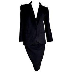 "VALENTINO ""New"" Black Cashmere Jacket Collar Velvet Skirt Suit - Unworn"