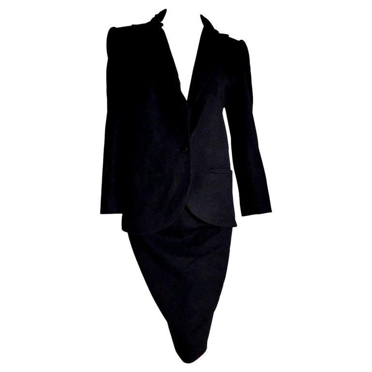 "VALENTINO ""New"" Black Cashmere Jacket Collar Velvet Skirt Suit - Unworn For Sale"