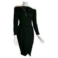 "VALENTINO ""New"" Black Cream Silk Wool Crêpe Bow Dress - Unworn"