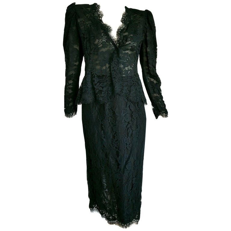 VALENTINO black lace, flowers designs, slightly transparent the jacket, silk skirt suit - Unworn, New. .. SIZE: equivalent to about Small / Medium, please review approx measurements as follows in cm.  JACKET: lenght 56, chest underarm to underarm