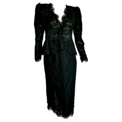 "VALENTINO ""New"" Black Lace Slightly Transparent Jacket Silk Skirt Suit - Unworn"