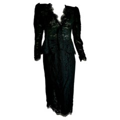 "VALENTINO ""New"" Black Lace Slightly Transparent Jacket Silk Skirt Suit - Unworn"