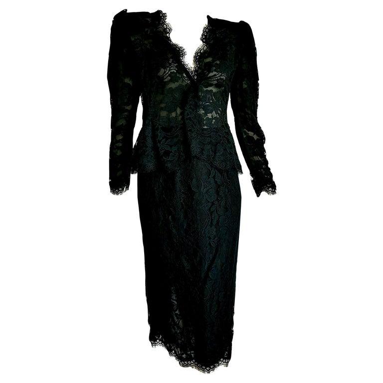 "VALENTINO ""New"" Black Lace Slightly Transparent Jacket Silk Skirt Suit - Unworn For Sale"