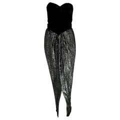 "VALENTINO ""New"" Black Velvet Corsage Striped Shirt Lamé Silk Skirt - Unworn"