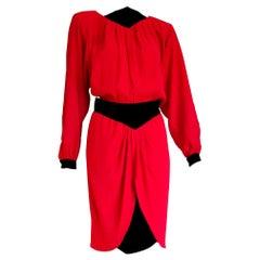 """VALENTINO """"New"""" Black Velvet Waistband Collar and Cuffs Silk Red Dress - Unworn"""