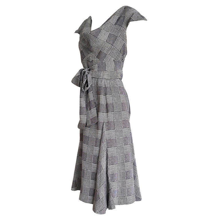 """VALENTINO """"New"""" Black White Prince of Wales Bands on Chest Silk Dress - Unworn For Sale"""