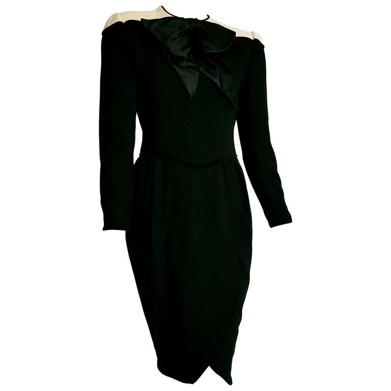 """VALENTINO """"New"""" Black Wool Crêpe Silk Velvet Hems Dress - Unworn  For Sale"""