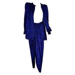 "VALENTINO ""New"" Blue and Black Leopard Printed Silk Evening Dress - Unworn"
