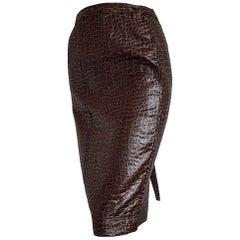 "VALENTINO ""New"" Brown Leatherette Crocodile Skirt - Unworn."