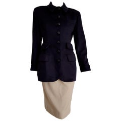 VALENTINO New Cashmere Blue Jacket Silk Wool Skirt with Crocodile Belt - Unworn