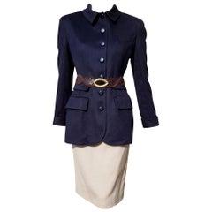 VALENTINO New Cashmere Blue Jacket Silk Wool Skirt with Crocodile Belt - Unworn