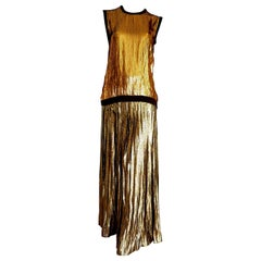 "VALENTINO ""New"" Cashmere Top with Golden Sequins Pleated Golden Skirt - Unworn"
