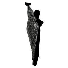 """VALENTINO """"New"""" Couture Sequins Silk Velvet Black Gown Dress - Unworn"""