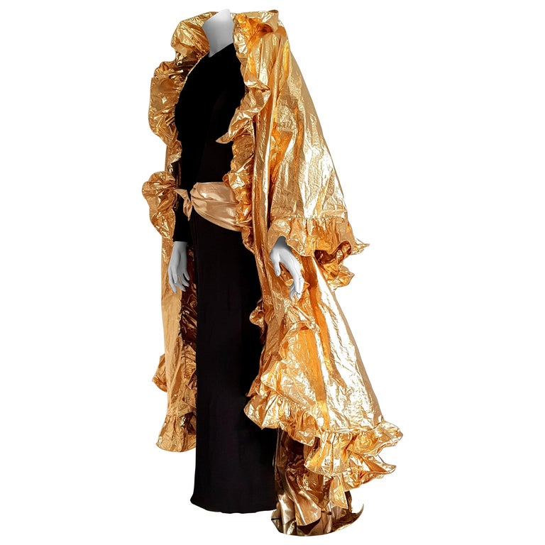 VALENTINO Haute Couture, golden waistband and wide golden cape, black silk evening long dress - Unworn, New.  SIZE: equivalent to about Small / Medium, please review approx measurements as follows in cm. DRESS: lenght 150, chest underarm to underarm