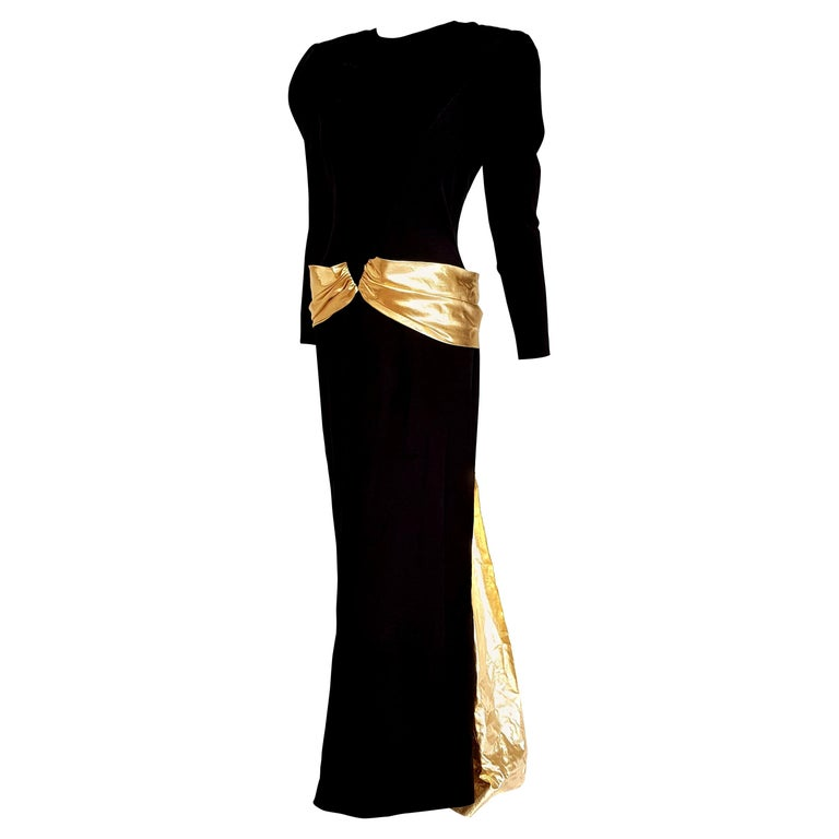 "VALENTINO ""New"" Couture Waistband Wide Golden Cloak Silk Black Dress - Unworn For Sale"
