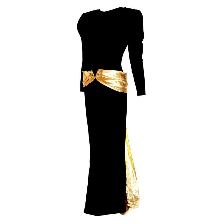 "VALENTINO ""New"" Couture Waistband Wide Golden Cloak Silk Black Dress - Unworn For Sale"