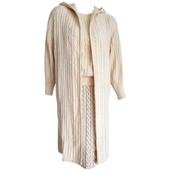 "VALENTINO ""New"" Ensemble Sweater Beaded Sequins Silk Skirt Cashmere Coat- Unworn"