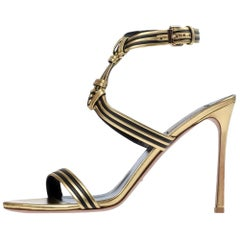 Valentino NEW Gold Black Leather Ankle Wraparound Evening Sandals Heels in Box