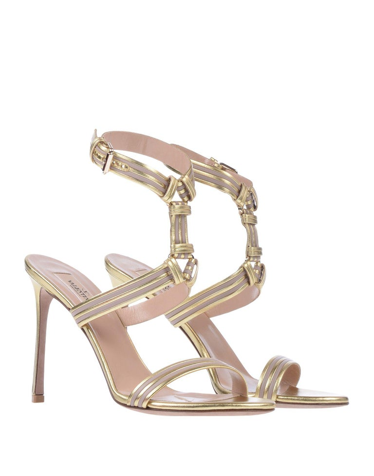 Women's Valentino NEW Gold Blush Leather Ankle Wraparound Evening Sandals Heels in Box For Sale