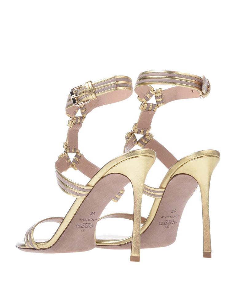 Valentino NEW Gold Blush Leather Ankle Wraparound Evening Sandals Heels in Box For Sale 1