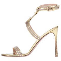 Valentino NEW Gold Blush Leather Ankle Wraparound Evening Sandals Heels in Box