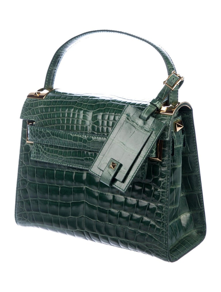 Valentino NEW Green Alligator Exotic Leather Gold Stud Top Handle Kelly Style Satchel Shoulder Bag  Alligator  Gold-tone hardware Suede lining Magnetic flap closure Made in Italy Handle drop 4