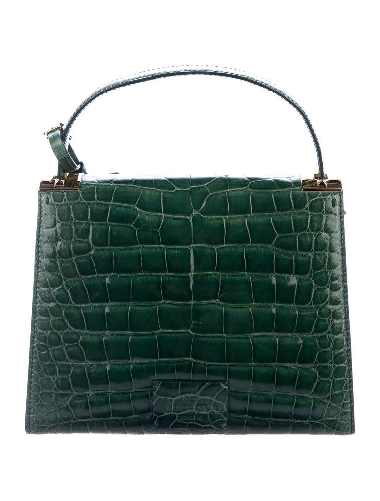 Black Valentino NEW Green Alligator Exotic Leather Gold Top Handle Kelly Style Satchel For Sale