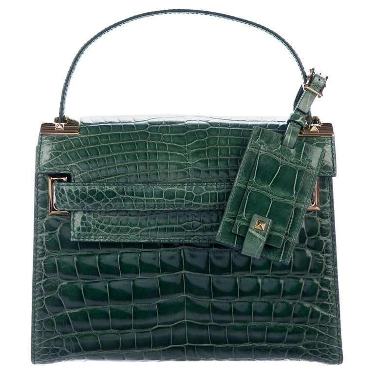 Valentino NEW Green Alligator Exotic Leather Gold Top Handle Kelly Style Satchel For Sale