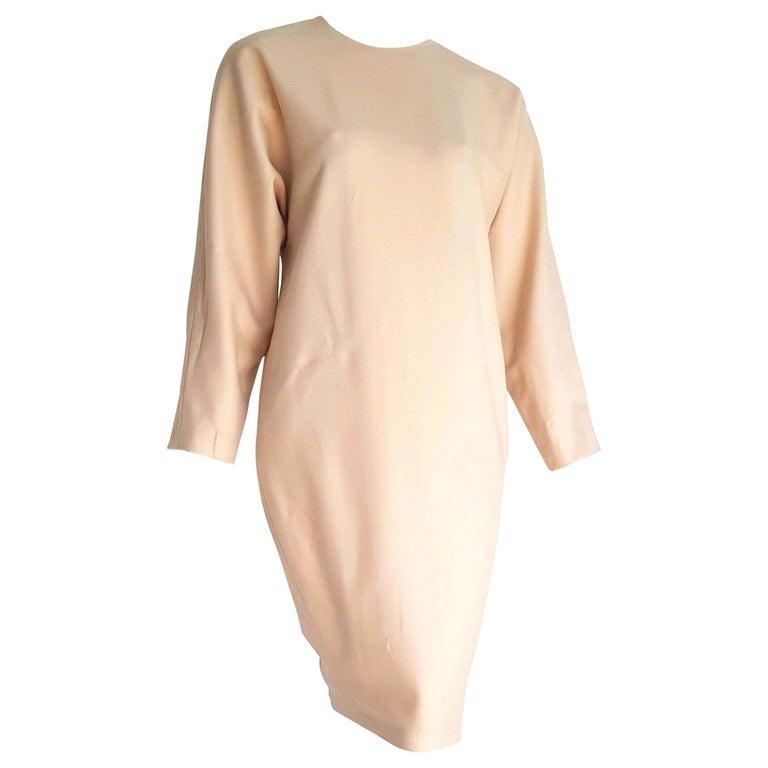 "VALENTINO ""New"" Haute Couture Beige Vicuña fabric Dress - Unworn For Sale"